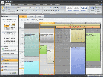 An Outlook style calendar with Ribbon UI and black visual style.