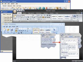 Office 2007 style Ribbon bars and tabbed toolbars.
