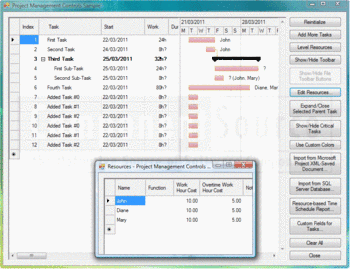 Project Management application built using DlhSoft Project Management Library for Windows Forms.