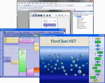 MindFusion.Reporting, Planner.NET and FlowChart.NET windows.
