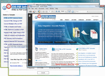Converting HTML to PDF using EVO HTML to PDF Converter for .NET.