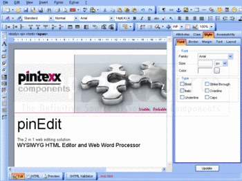 WYSIWYG editor in pinEdit.