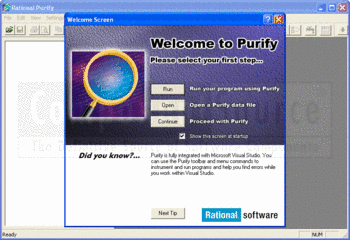 The Purify welcome screen and main window.