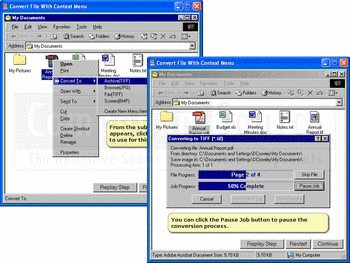 Converting files using PEERNET File Conversion Center.