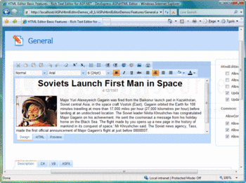 ASPxHTML Editor design view running within Internet Explorer.