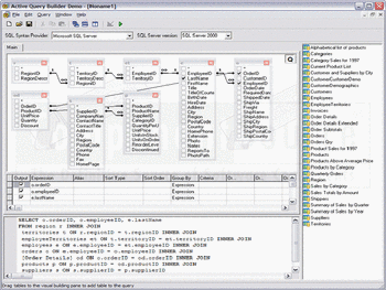 Visually building a query for a SQL Server database.