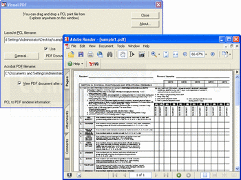 Converting a PCL print file to PDF using Pcl2pdf for Windows PC.