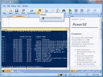 The PowerSE IDE displaying the console help panels.