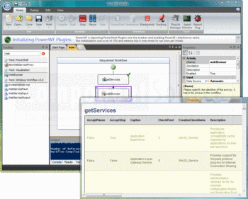 Viewing the getServices window in PowerWF for Operations Manager.