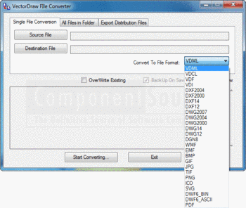 Selecting the file format to convert to using VectorDraw FileConverter.