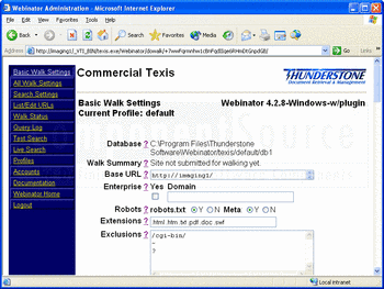 Using Webinator in a Web browser.