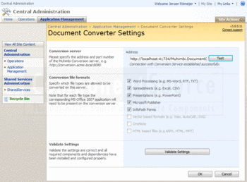 Setting document settings using PDF Converter for SharePoint.